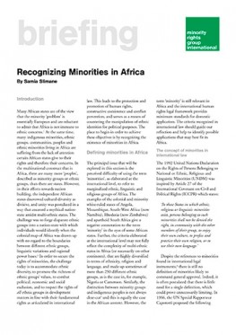 Recognizing Minorities in Africa (May 2003)