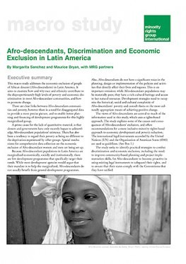 Afro-descendants, Discrimination and Economic Exclusion in Latin America (May 2003)