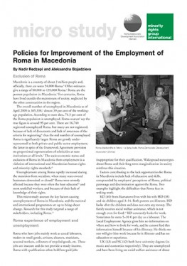 Policies for Improvement of the Employment of Roma in Macedonia