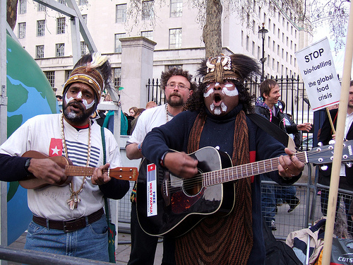 West Papuans protest biofuels in London (Bernard Burns)