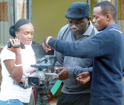 Participants learn to operate a camera