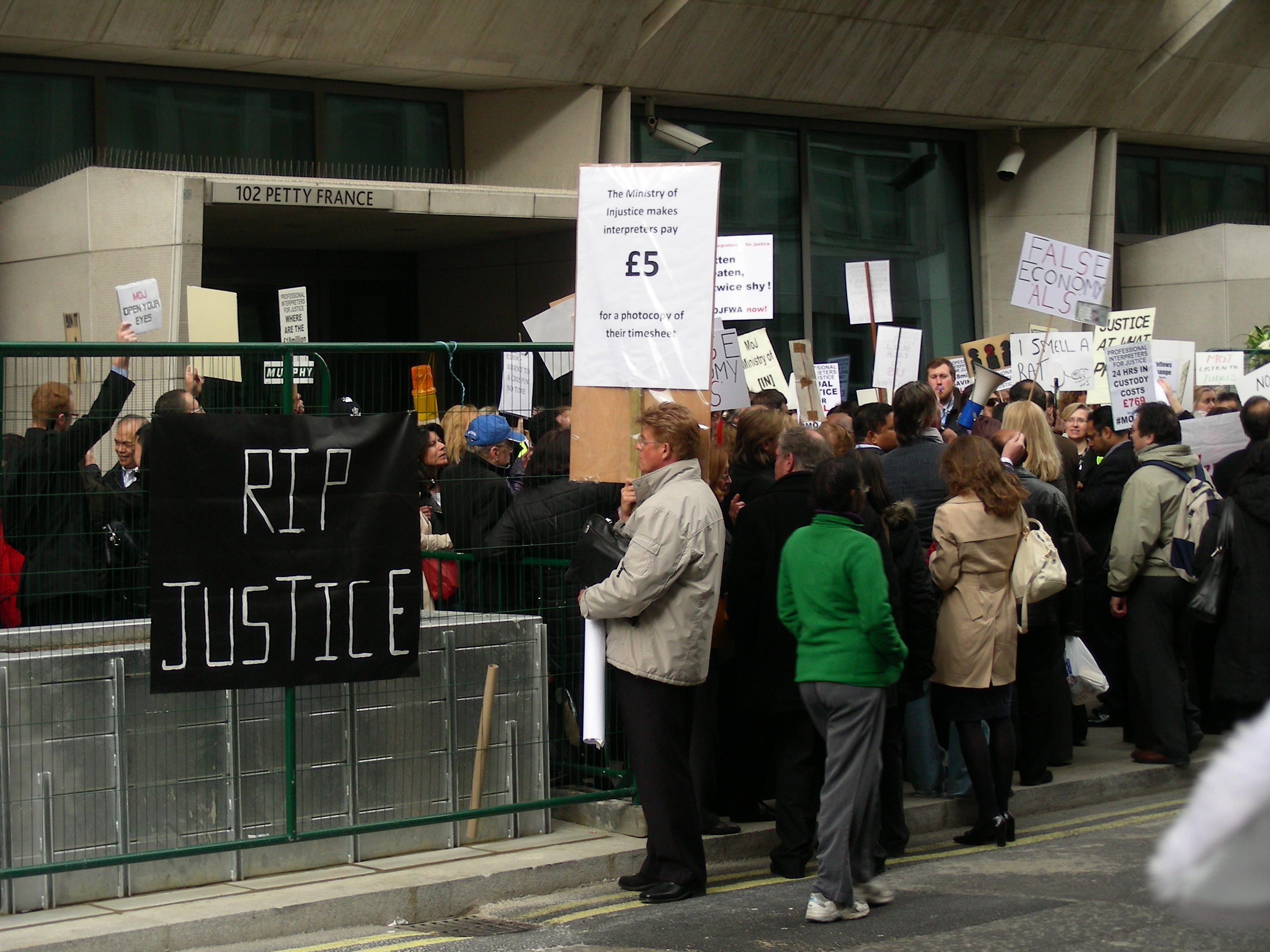 protest outside Ministry of Justice