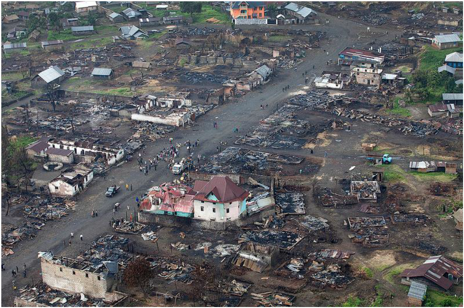 Aerial view of Kitshanga after the killings at the beginning of March 2013