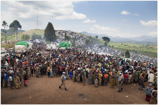 Villagers at the MONUSCO camp, which is just 2km from Kitshanga.