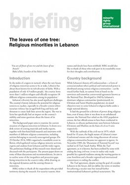 The leaves of one tree: Religious minorities in Lebanon