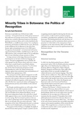 Minority Tribes in Botswana: the Politics of Recognition