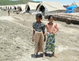 Two Rohingya Muslim girls displaced by the conflict in Burma