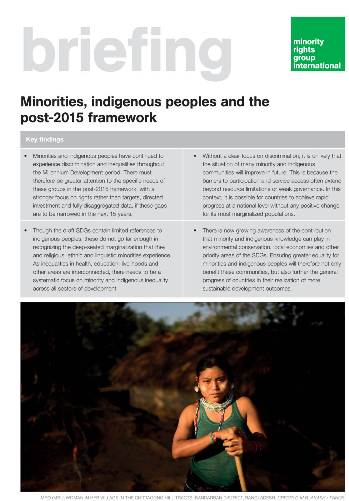 Minorities, indigenous peoples and the post-2015 framework