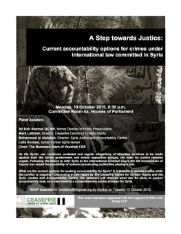 A Step towards Justice: Current accountability options for crimes under international law committed in Syria