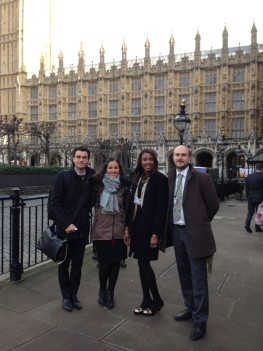 Rosa Iris with MRG staff outside the Houses of Parliament