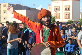 Street theatre performance in Agadir, Morocco.