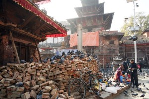 Post-quake reconstruction efforts in Durbar Square, central Kathmandu.