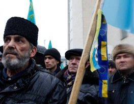 Crimean Tatar activists at a pro-European rally in Kiev, 2014