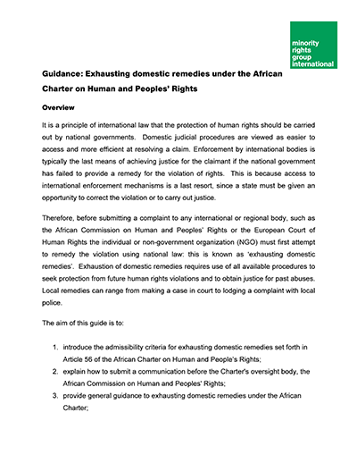 Guidance: Exhausting domestic remedies under the African Charter on Human and Peoples' Rights