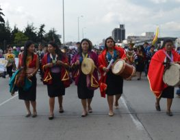 Indigenous women marching for peace in Bogota Credit: www.onic.org.co