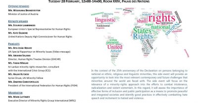25th Anniversary of the UN Declaration on the Rights of Persons belonging to National or Ethnic, Religious and Linguistic Minorities: Looking Ahead – Opportunities and Challenges