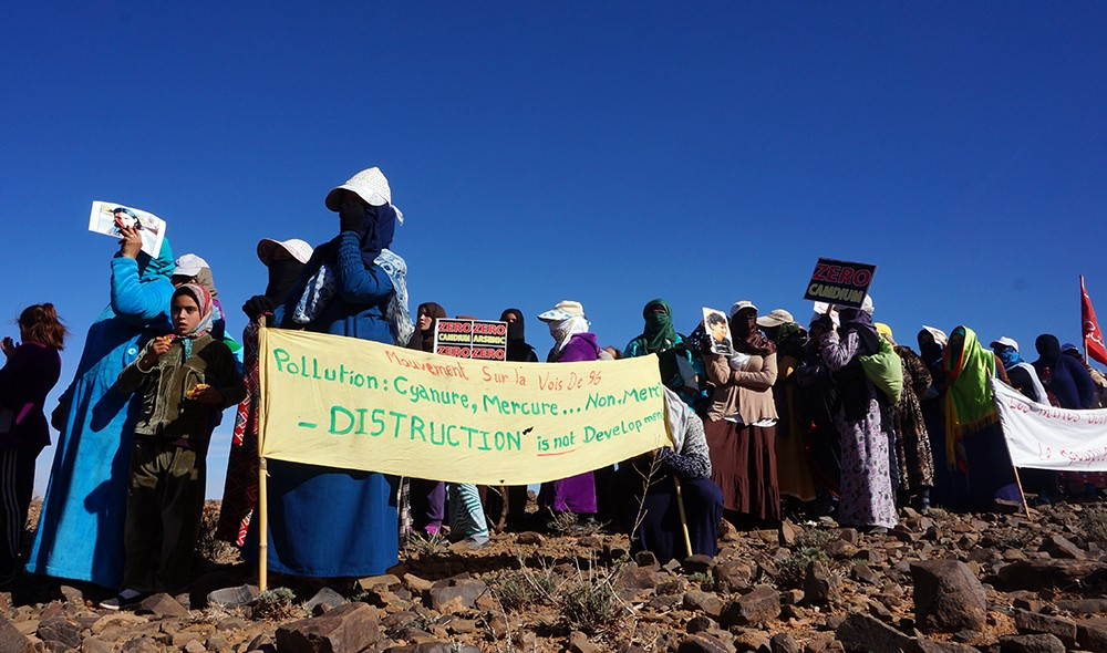 Members of the Amazigh community take part in a peaceful protest against the Imider silver mine in Morocco. Credit: Linda Fouad.