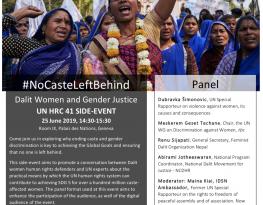 HRC41 – #NoCasteLeftBehind - Side Event on Dalit Women and Gender Justice
