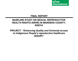 Baseline study on sexual reproductive health rights (SRHR) in Mandera County, Kenya