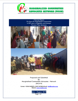 A Survey Report on how the marginalized communities in IDP sites in Mogadishu and Kismayo perceive their exclusion